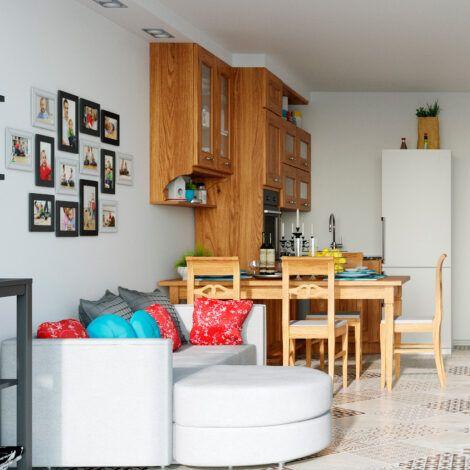Візуалізація кухні-вітальні. Натисніть для збільшення