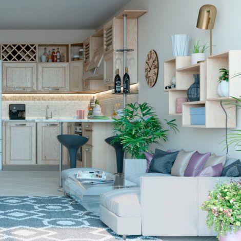 Візуалізація кухні-гостиної. Натисніть для збільшення